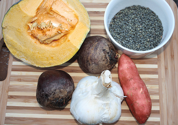 Puy lentils and Garlic ingredients