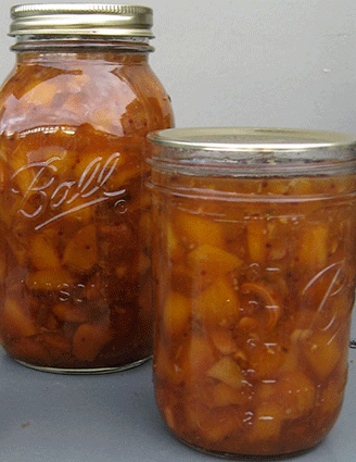 Peach chutney in jars
